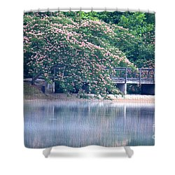 Misty Mimosa Reflections Shower Curtain by Maria Urso