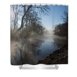 Misty Morning Along James River Shower Curtain
