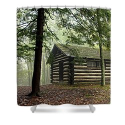 Shower Curtain featuring the photograph Misty Morning Cabin by Suzanne Stout