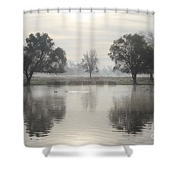 Misty Morning In Bushy Park London 2 Shower Curtain