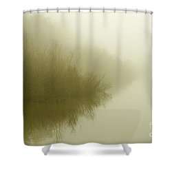 Misty Morning Reflection. Shower Curtain