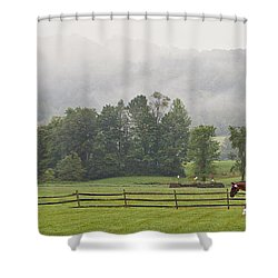 Misty Morning Ride Shower Curtain