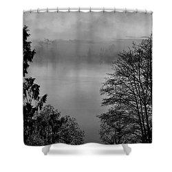 Misty Morning Sunrise Black And White Art Prints Shower Curtain