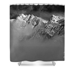 Misty Mountains In Mono Shower Curtain