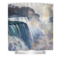 Misty Niagara Falls Shower Curtain by Ylli Haruni