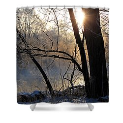 Misty River Sunrise Shower Curtain by Hanne Lore Koehler