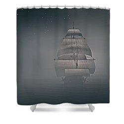 Misty Sail Shower Curtain by Lourry Legarde