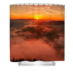 Misty Sunrise On The Lilienstein Shower Curtain