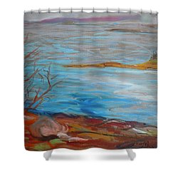 Shower Curtain featuring the painting Misty Surry by Francine Frank