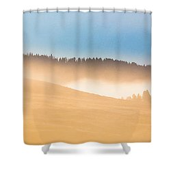 Misty Yellowstone   Shower Curtain by Lars Lentz