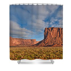 Shower Curtain featuring the photograph Mitchell Butte And Gray Whiskers In The Evening Light by Jeff Goulden