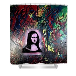 Mixed Media Abstract Post Modern Art By Alfredo Garcia Mona Lisa 2 Shower Curtain