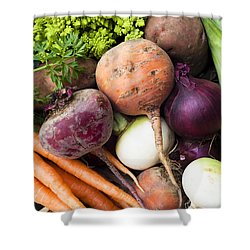 Mixed Veg Shower Curtain by Anne Gilbert