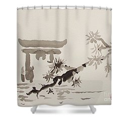 Miyajima De No Torii Shower Curtain by Roberto Prusso