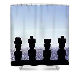 Moai Oneaster Island Chile Shower Curtain