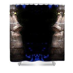 Moai Silver Shower Curtain by Gunter Nezhoda