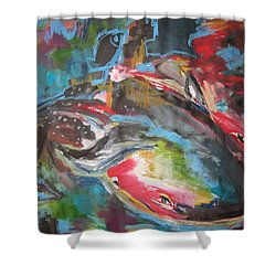 Mobie Joe The Whale-original Abstract Whale Painting Acrylic Blue Red Green Shower Curtain by Seon-Jeong Kim