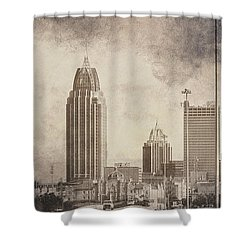 Mobile Alabama Black And White Shower Curtain by Judy Hall-Folde