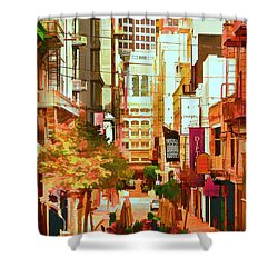 Mocca On Maiden Lane Shower Curtain by Bill Gallagher