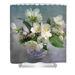 Sweet Mock Orange Blossom Bouquet With Bumble Bee  Shower Curtain