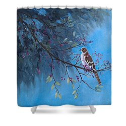 Mockingbird Happiness Shower Curtain by Suzanne Theis