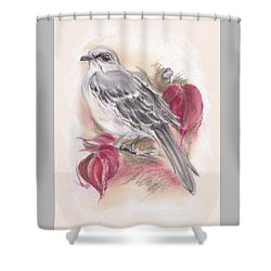 Shower Curtain featuring the pastel Mockingbird In Autumn Dogwood by MM Anderson