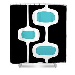 Mod Pod 2 White On Black Shower Curtain