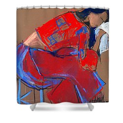 Model #3 - Woman Wiping Her Face - Figure Series Shower Curtain