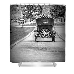 Model T Ford Down The Road Shower Curtain