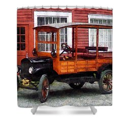 Model T Station Wagon Shower Curtain by Susan Savad