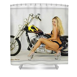 Models And Motorcycles_l Shower Curtain