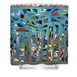 modern abstract painting - Tropical Storm Shower Curtain