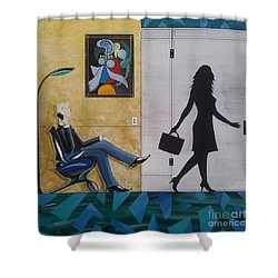 Modern Businessman Sitting In Chair Shower Curtain by John Lyes