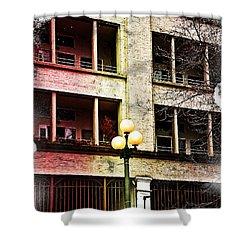 Shower Curtain featuring the digital art Modern Grungy City Building  by Valerie Garner