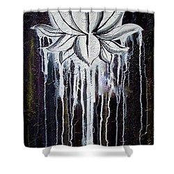 Modern Lotus Flower Painting Shower Curtain