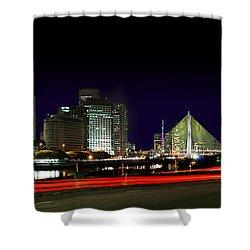 Modern Sao Paulo Skyline Near Brooklin District And Stayed Bridge Shower Curtain