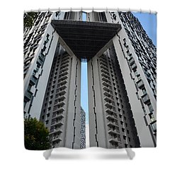 Shower Curtain featuring the photograph Modern Skyscraper Apartment Building Singapore by Imran Ahmed