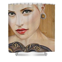 Shower Curtain featuring the painting Modern Warrior Beauty by Malinda  Prudhomme
