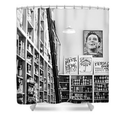 Modica Market - Black And White Shower Curtain by Shelby  Young