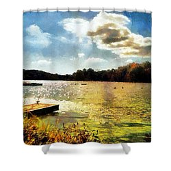 Mohegan Lake Gold Shower Curtain