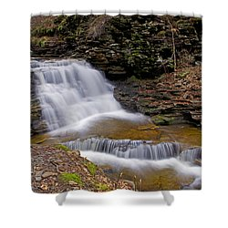 Mohican Falls In Spring Shower Curtain by Shelly Gunderson