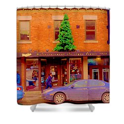 Moishes On The Main At Christmas Time Montreal Restaurant Winter City Scene Art Carole Spandau Shower Curtain by Carole Spandau