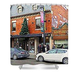 Moishes Restaurant Plateau Montreal Memories Vintage Landmark  Winter Scene Art Carole Spandau  Shower Curtain by Carole Spandau