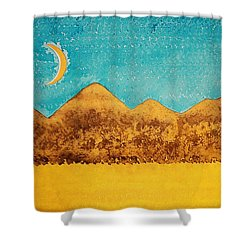 Mojave Moonrise Original Painting Shower Curtain by Sol Luckman