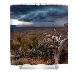 Moki Dugway Thunderstorm - Southern Utah Shower Curtain