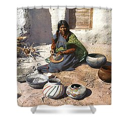 Moki Indian Potter 1899 Shower Curtain by Unknown