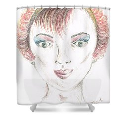 Shower Curtain featuring the drawing Mollys Makeover/ Pink Day by Teresa White