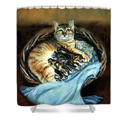 Shower Curtain featuring the painting Mom With Her Kittens by Donna Tucker