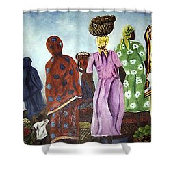 Shower Curtain featuring the painting Mombasa Market by Sher Nasser