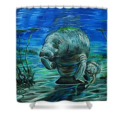 Momma Manatee Shower Curtain by Steve Ozment